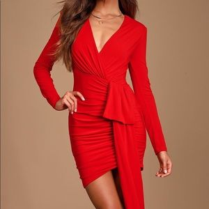 Marlay Red Ruched Long Sleeve Bodycon Dress